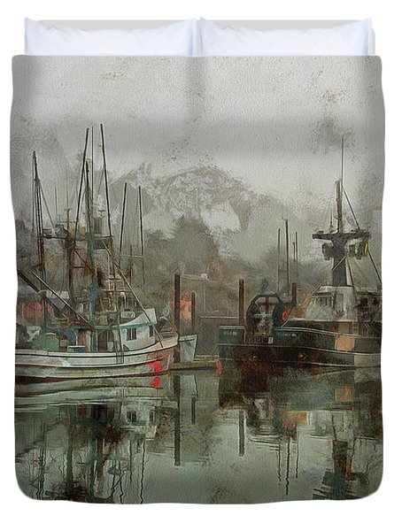 Duvet Cover featuring the photograph Fishing Fleet Dock Five by Thom Zehrfeld
