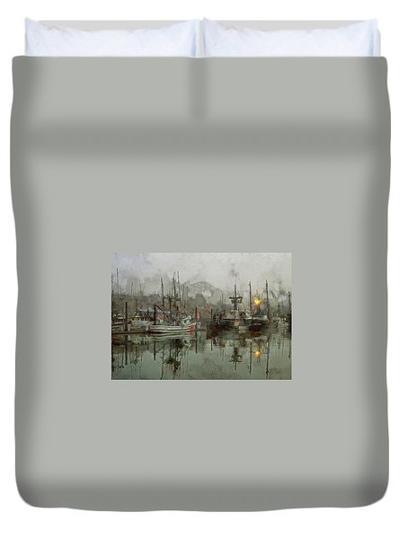 Fishing Fleet Dock Five Duvet Cover