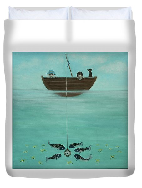 Fishing For Time Duvet Cover by Tone Aanderaa
