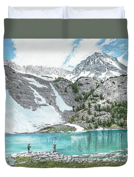 Fishing Gem Lake Duvet Cover