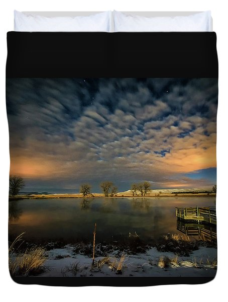 Fishing Hole At Night Duvet Cover