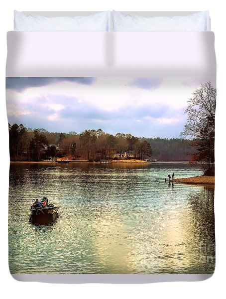 Duvet Cover featuring the photograph Fishing Hot Springs Ar by Diana Mary Sharpton