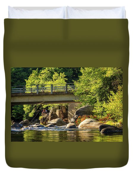 Fishing In Deer Creek Duvet Cover by James Eddy