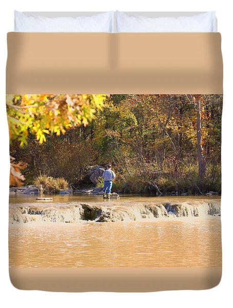Duvet Cover featuring the photograph Fishing In Fall by Sheila Brown