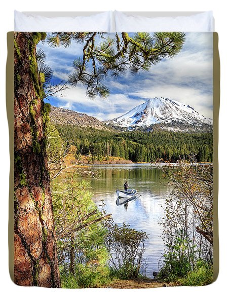 Duvet Cover featuring the photograph Fishing In Manzanita Lake by James Eddy