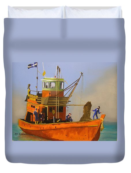 Fishing In Orange Duvet Cover