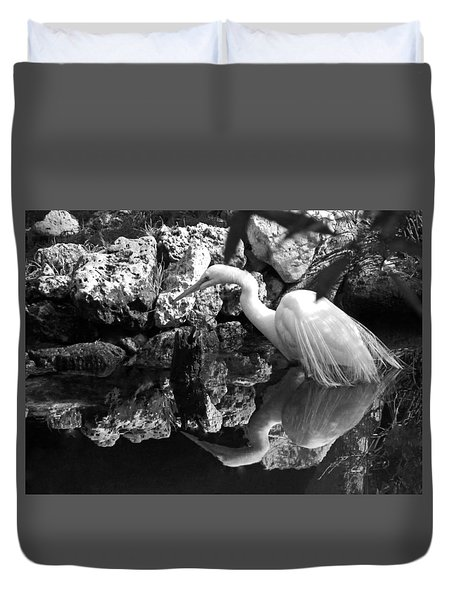 Fishing In The Creek In Black And White Duvet Cover