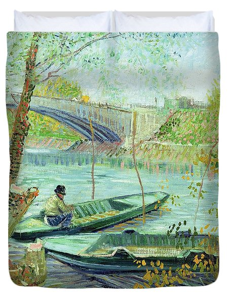 Fishing In The Spring Duvet Cover by Vincent Van Gogh