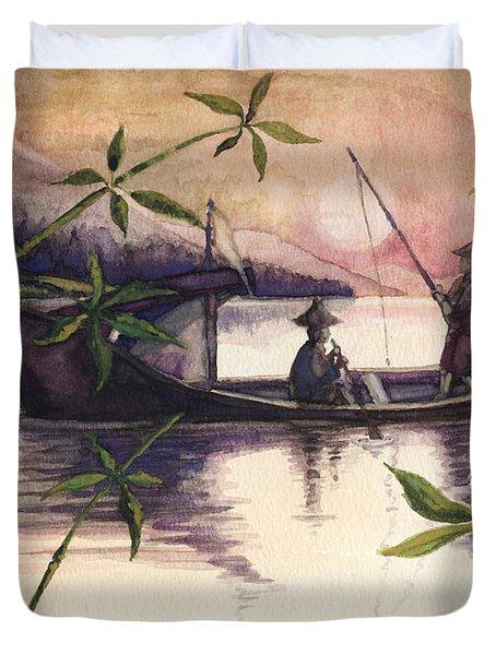 Fishing In The Sunset   Duvet Cover