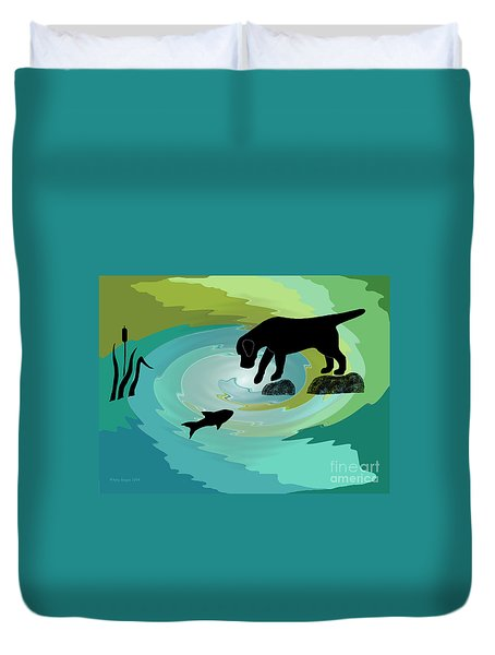 Fishing Labrador Dog Duvet Cover