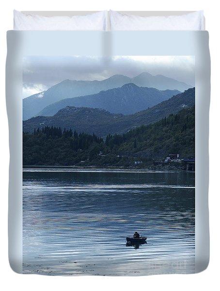 Fishing - Lake Skada Duvet Cover