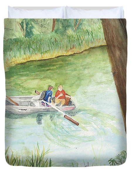 Duvet Cover featuring the painting Fishing Lake Tanko by Vicki  Housel