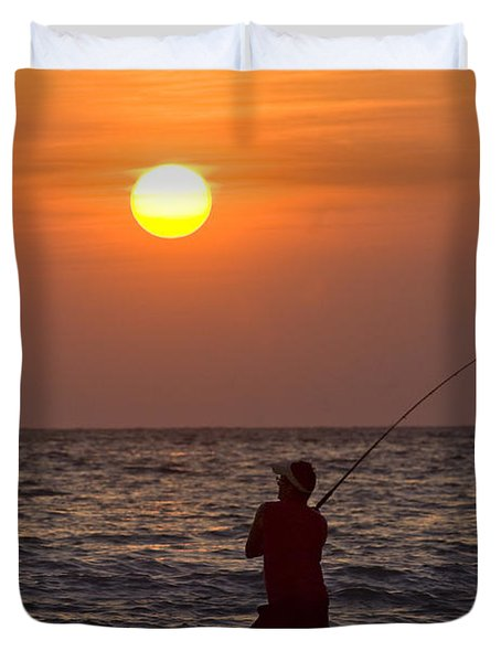 Fishing Lido Beach Duvet Cover