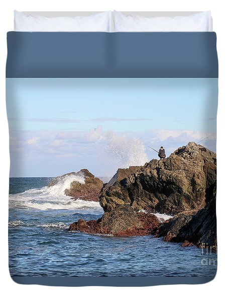 Duvet Cover featuring the photograph Fishing by Linda Lees