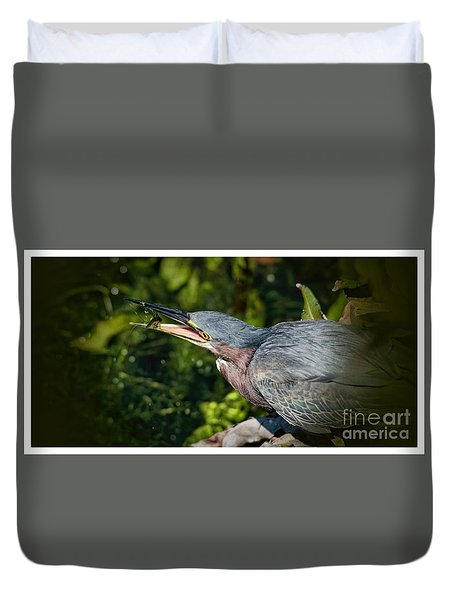Duvet Cover featuring the photograph Fishing Machine by Pamela Blizzard