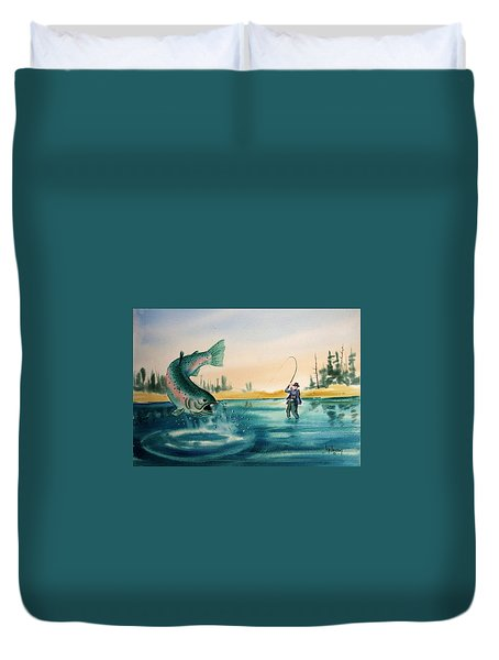 Fishing Montana Duvet Cover by Kevin Heaney