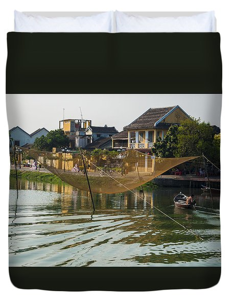 Duvet Cover featuring the photograph Fishing Net In Vietnam by Rob Hemphill