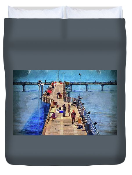 Fishing Off Galvaston Pier Duvet Cover