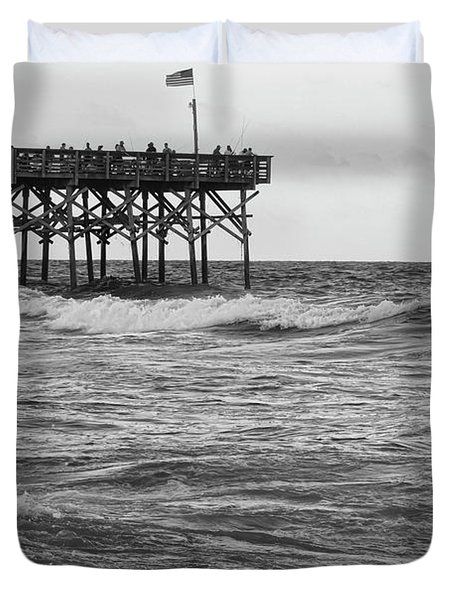 Duvet Cover featuring the photograph Fishing Off The Pier At Myrtle Beach by Chris Flees