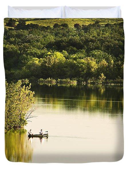 Fishing On Mountain Lake Duvet Cover by Tamyra Ayles