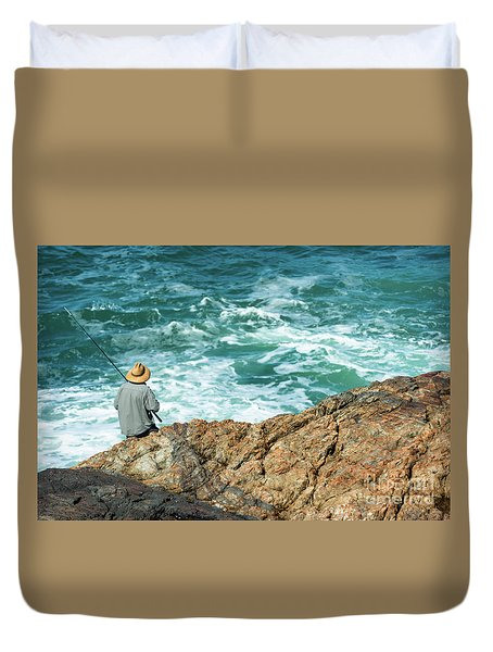 Fishing On Mutton Bird Island Duvet Cover