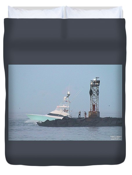 Duvet Cover featuring the photograph Fishing On The Inlet Jetty by Robert Banach