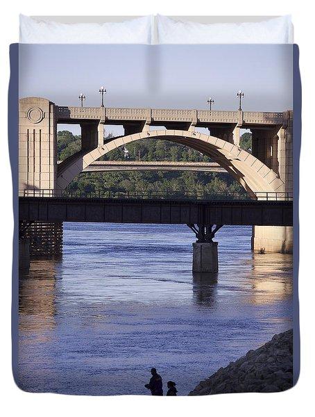 Fishing On The Mississippi River Duvet Cover