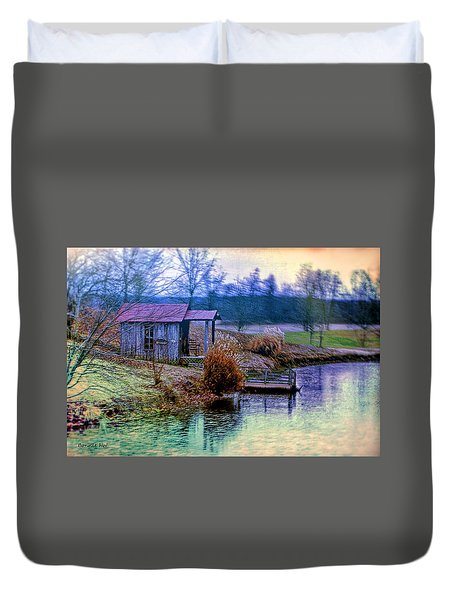Duvet Cover featuring the digital art Fishing Paradise by Bonnie Willis
