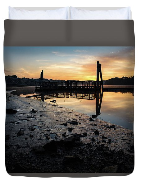 Fishing Pier At Dawn Duvet Cover