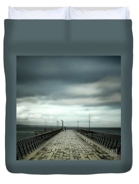 Duvet Cover featuring the photograph Fishing Pier by Perry Webster