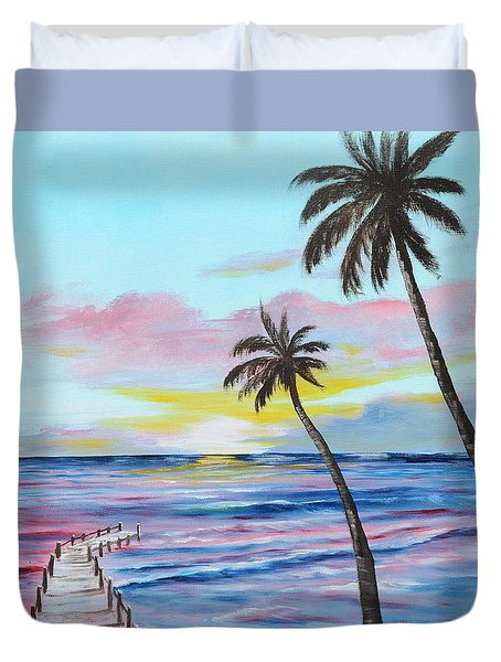 Fishing Pier Sunset Duvet Cover