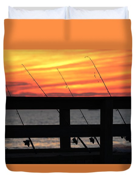 Fishing Poles Mount Sinai New York  Duvet Cover