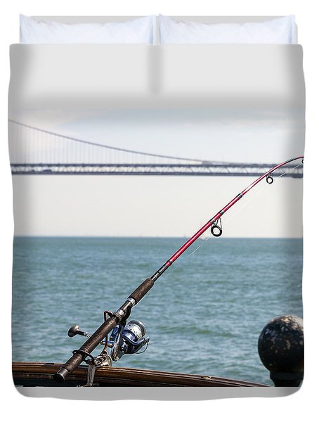 Fishing Rod On The Pier In San Francisco Bay Duvet Cover
