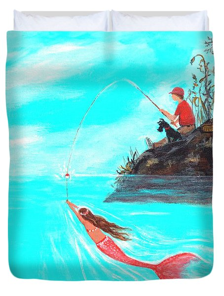 Duvet Cover featuring the painting Fishing Surprise by Leslie Allen
