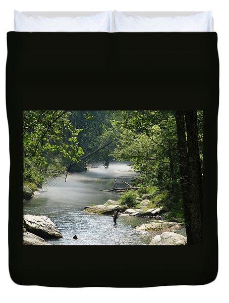 Duvet Cover featuring the photograph Fishing The Gunpowder Falls by Donald C Morgan