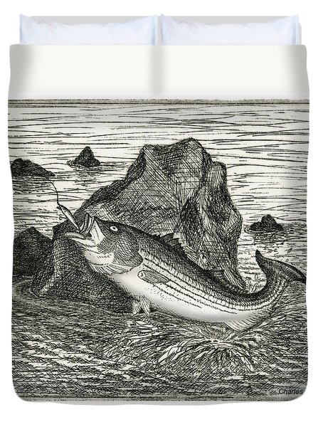Duvet Cover featuring the photograph Fishing The Rocks by Charles Harden