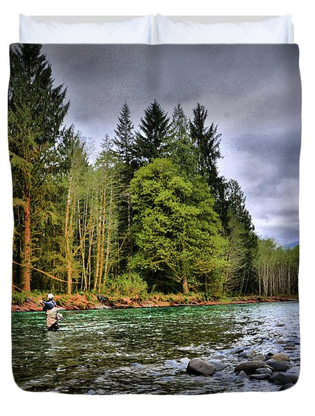 Fishing The Run Duvet Cover