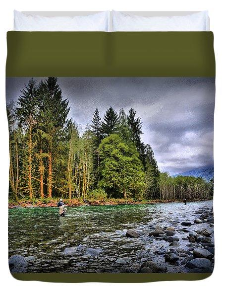 Fishing The Run Duvet Cover