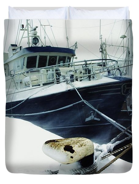 Fishing Trawler, Howth Harbour, Co Duvet Cover by The Irish Image Collection