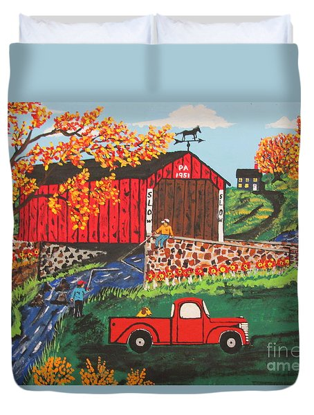 Duvet Cover featuring the painting Fishing Under The  Covered Bridge by Jeffrey Koss