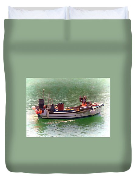 Duvet Cover featuring the digital art Fishing Vessel  by Paul Gulliver