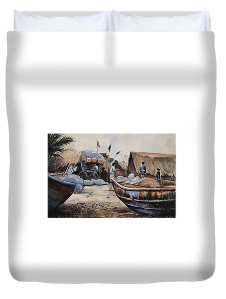 Fishing Village Of Puri Duvet Cover