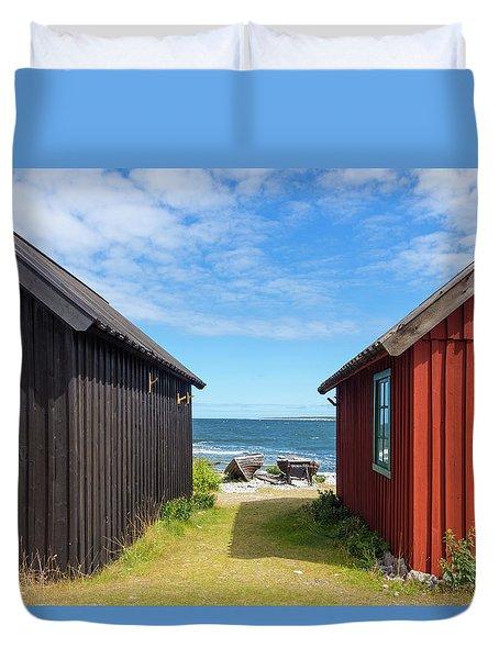 Fishing Village On Faro Island, Sweden Duvet Cover