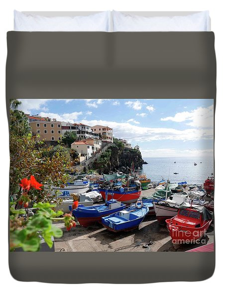 Fishing Village On The Island Of Madeira Duvet Cover