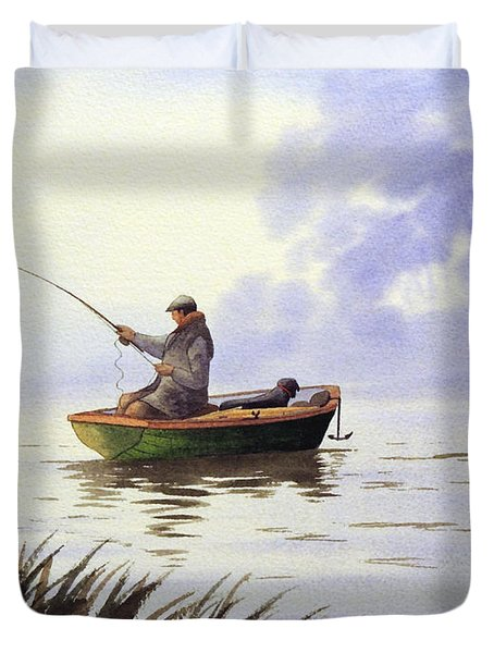 Fishing With A Loyal Friend Duvet Cover