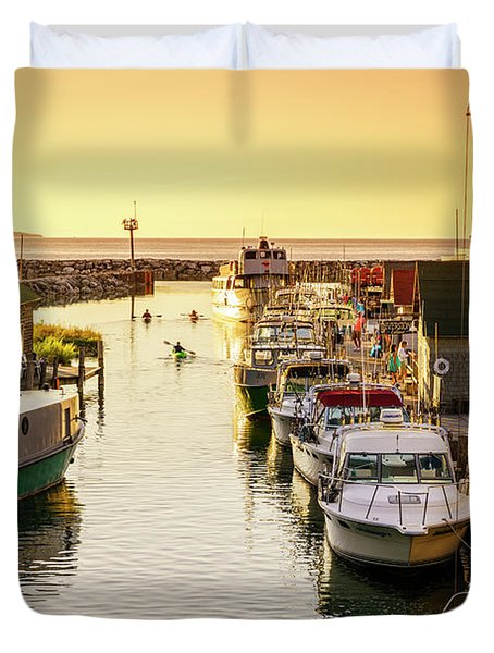 Duvet Cover featuring the photograph Fishtown by Alexey Stiop