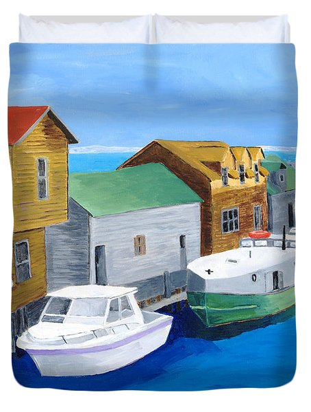 Duvet Cover featuring the painting Fishtown by Rodney Campbell