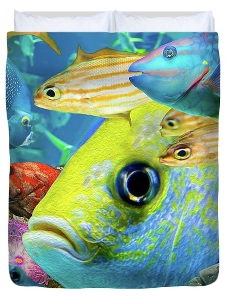 Fishy Collage 02 Duvet Cover