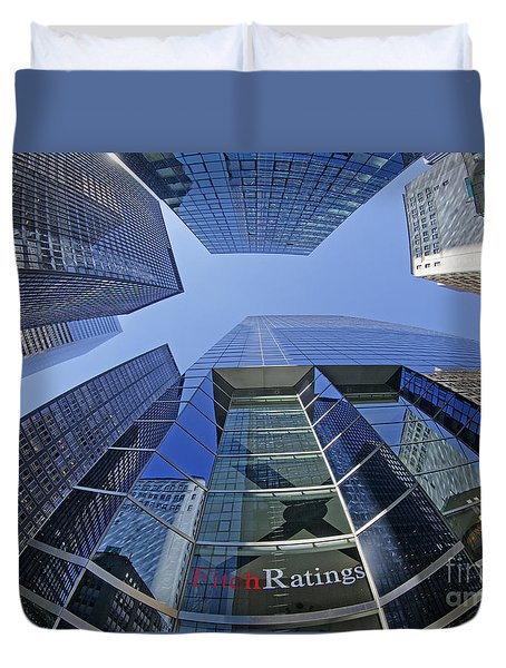 Duvet Cover featuring the photograph Fitch Ratings Manhattan Nyc by Juergen Held