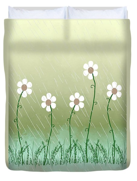 Five Days Of Daisies Duvet Cover